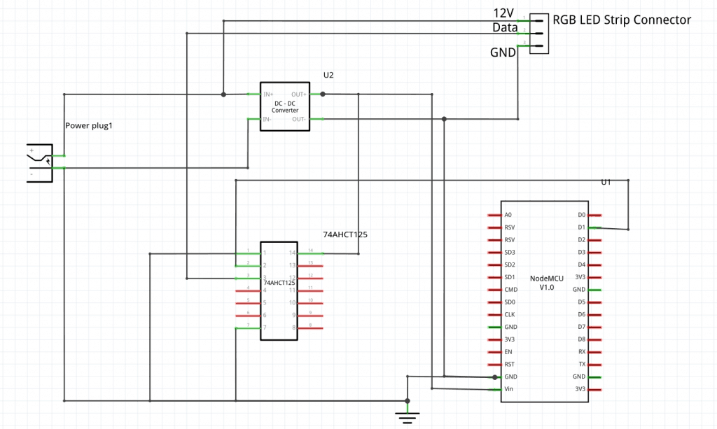 Schematic WiFi Connected RGB LED Strip