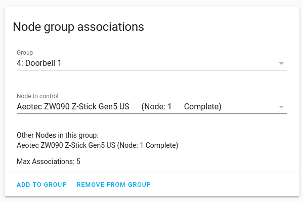 Node Group Associations