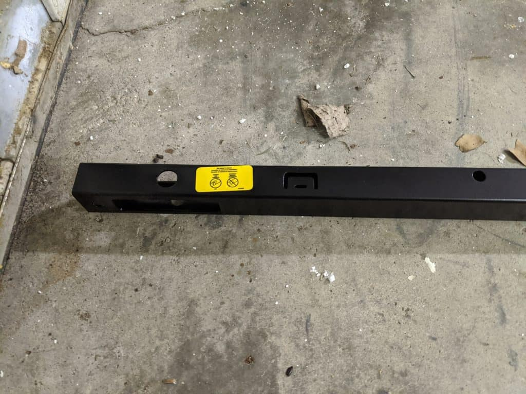 Rail with yellow sticker up